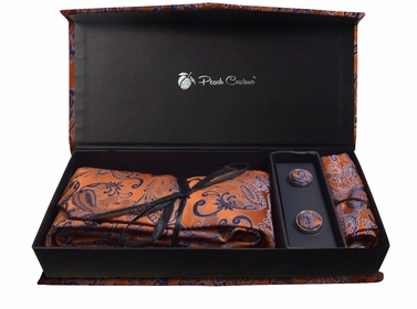 Elegant Men's Silk Feel Necktie Cufflinks Pocket Square Handkerchief Set (Paisley, Orange/Purple)
