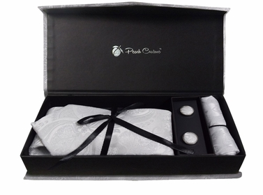 Elegant Men's Silk Feel Necktie Cufflinks Pocket Square Handkerchief Set (Paisley, White/White)