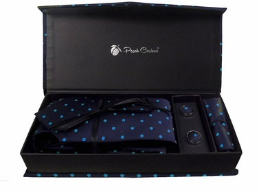 Elegant Men's Silk Feel Necktie Cufflinks Pocket Square Handkerchief Set (Polka Dot, Navy/Blue)