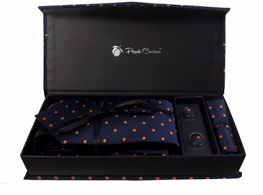 Elegant Men's Silk Feel Necktie Cufflinks Pocket Square Handkerchief Set (Polka Dot, Navy/Orange)