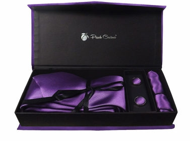 Elegant Men's Silk Feel Necktie Cufflinks Pocket Square Handkerchief Set (Solid, Purple)