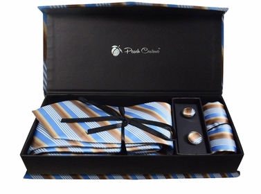 Elegant Men's Silk Feel Necktie Cufflinks Pocket Square Handkerchief Set (Stripe, Blue/Brown)