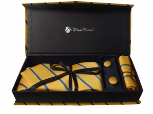 Elegant Men's Silk Feel Necktie Cufflinks Pocket Square Handkerchief Set (Stripe, Yellow/Blue)