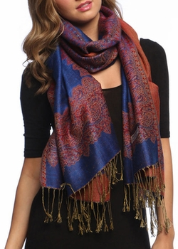 Ravishing Reversible Pashmina Shawl with Braided Fringe (Royal Blue)