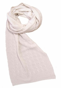 Elegant & Warm Cashmere and Wool Cable Knit Scarf (Off White)