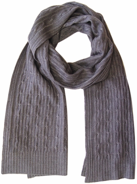 Elegant & Warm Cashmere and Wool Cable Knit Scarf (Gray)