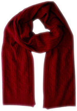 Elegant & Warm Cashmere and Wool Cable Knit Scarf (Red)