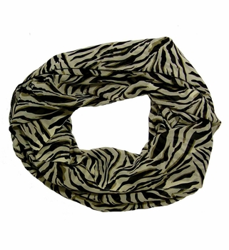 Elegant Zebra Striped Infinity Loop Scarf (Cream)