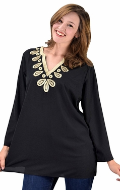 Embellished Neckline Summer Tunic Beach Cover Ups