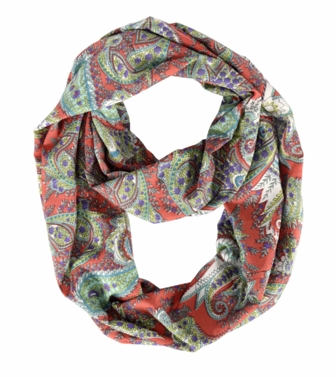 Exclusive Colorful Rainbow Paisley Print Infinity Loop Scarf (Coral)