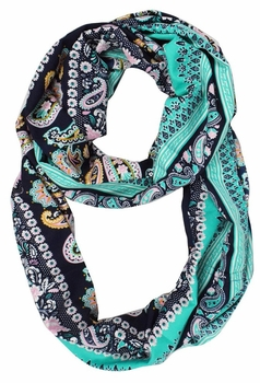 Exclusive Colorful Rainbow Paisley Print Infinity Loop Scarf (Teal)