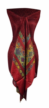Exclusive Silky Shiny Geometric Tribal Printed Fringe Scarf (Tribal Maroon)