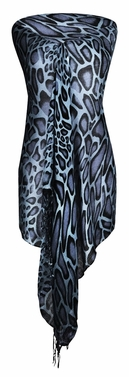 Stylish & Lightweight Giraffe Print Pashmina Shawl Scarf (Grey/Black)
