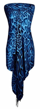 Stylish & Lightweight Giraffe Print Pashmina Shawl Scarf (Blue)