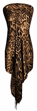 Stylish & Lightweight Giraffe Print Pashmina Shawl Scarf (Brown)