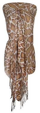 Stylish & Lightweight Giraffe Print Pashmina Shawl Scarf  (Tan)