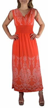 Exotic Tahiti Multicolor Border Print Maxi Dress (Paisley Orange and White)