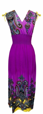 Exotic Tahiti Multicolor Border Print Maxi Dress (Paisley Purple and Yellow)