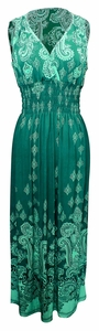 Exotic Tahiti Multicolor Border Print Maxi Dress (Paisley Teal and White, S)