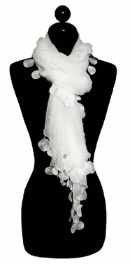 Exquisite White with Dangly Circles Fashion Scarf