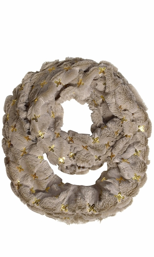 Faux fur Solid Color Plush Cowl Collar Infinity Loop Scarf Tan 06