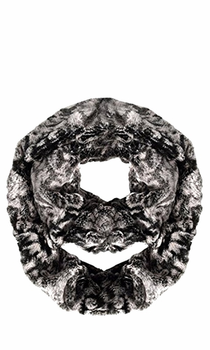 Faux fur Two Tone Plush Cowl Collar Infinity Loop Scarf Black Dust Pink