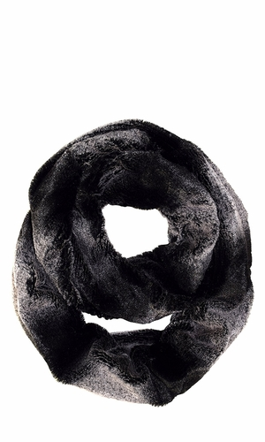 Faux fur Two Tone Plush Cowl Collar Infinity Loop Scarf Black Pink