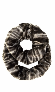 Faux fur Two Tone Plush Cowl Collar Infinity Loop Scarf Brown Swirl