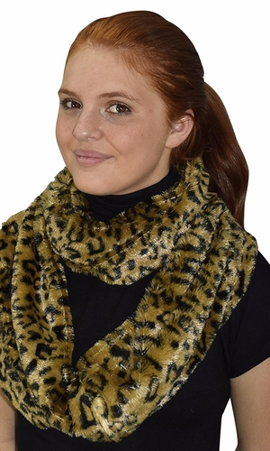 Faux fur Two Tone Plush Cowl Collar Infinity Loop Scarf Golden Brown