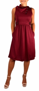 Fit & Flare Womens Casual Sleeveless Fold Over Collar Swing Vintage Dress (Burgundy)