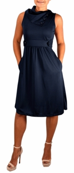 Fit & Flare Womens Casual Sleeveless Fold Over Collar Swing Vintage Dress (Navy)