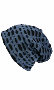 Fleece Lined Unisex Winter Beanie Hat Skull Caps Ripped Navy