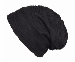 Fleece Lined Unisex Winter Beanie Hat Skull Caps Wave Black