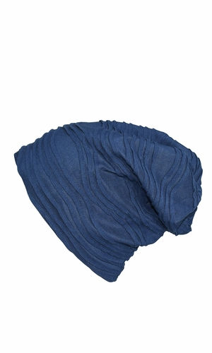 Fleece Lined Unisex Winter Beanie Hat Skull Caps Wave Navy