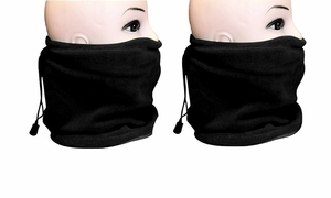 Fleece Lined Versatile Ski Mask  2-Pack Set (Black/Black)