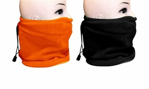 Fleece Lined Versatile Ski Mask 2-Pack Set (Orange/Black)
