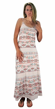 Floral Boho Print Spaghetti Strap Scoop Neck Summer Maxi Dress Multi