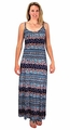 Floral Boho Print Spaghetti Strap Scoop Neck Summer Maxi Dress Navy