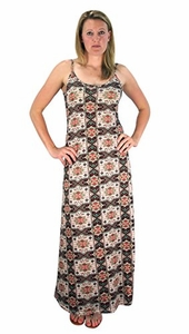 Floral Boho Print Spaghetti Strap Scoop Neck Summer Maxi Dress Olive