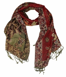 Floral Peacock Reversible Pashmina Wrap Shawl Scarf (Red)