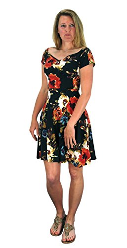 Floral Print Princess Seam Cocktail Skater Dress Black