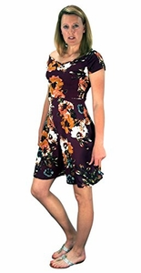 Floral Print Princess Seam Cocktail Skater Dress Burgundy
