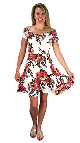 Floral Print Princess Seam Cocktail Skater Dress Ivory