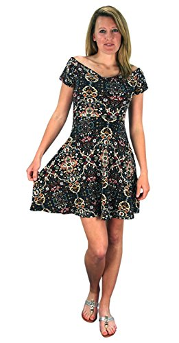 Floral Print Princess Seam Cocktail Skater Dress Navy