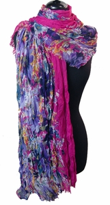 Floral Print Scarf Fuchsia with Colorful Flowers