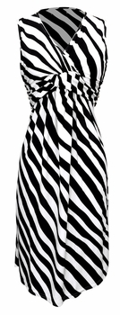 Fun and Trendy Knotted Tank Sleeveless Striped Mid Length Sundress (Black & White, Small)