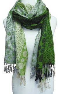 Fun Circle Tricolor Design Pashmina Shawl Wrap (Green)