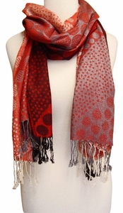 Fun Circle Tricolor Pashmina (Red)