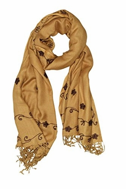 Vintage Floral Hand Embroidered Pashmina Shawl Scarf (Gold)