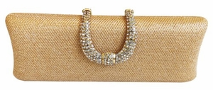 Gold Rhinestone and Glitter Evening Clutch/Handbag with Elegant Buckle Clip and Detachable Chains